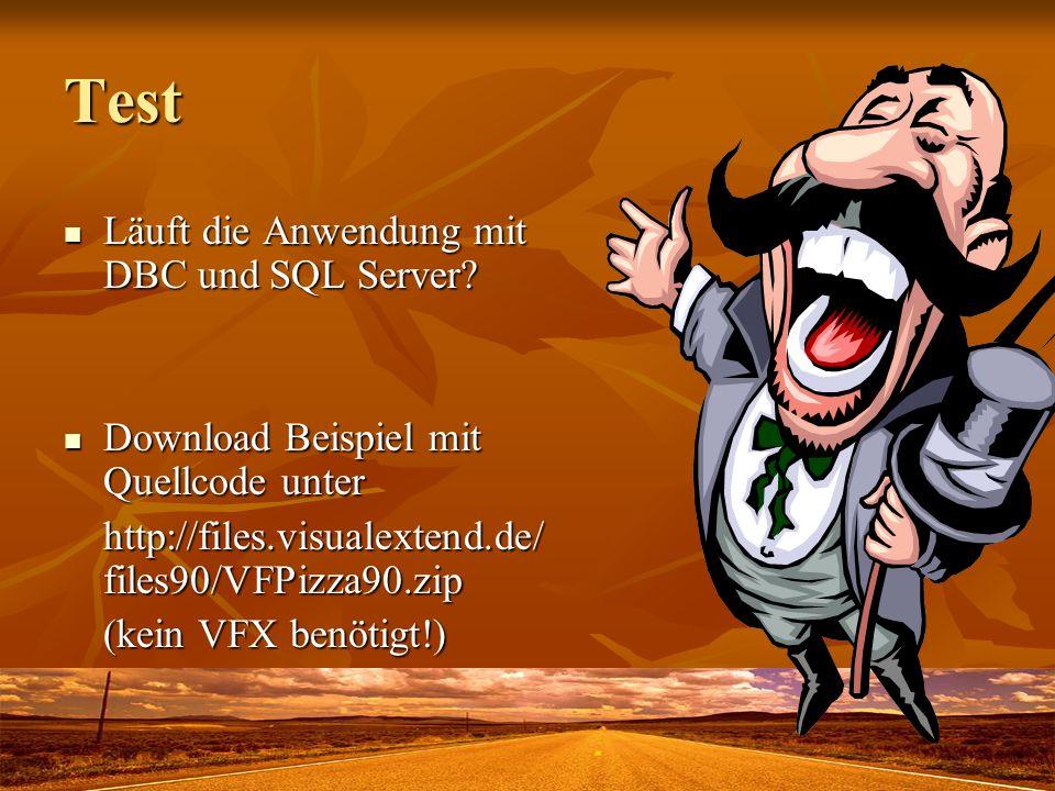 Test Läuft die Anwendung mit DBC und SQL Server