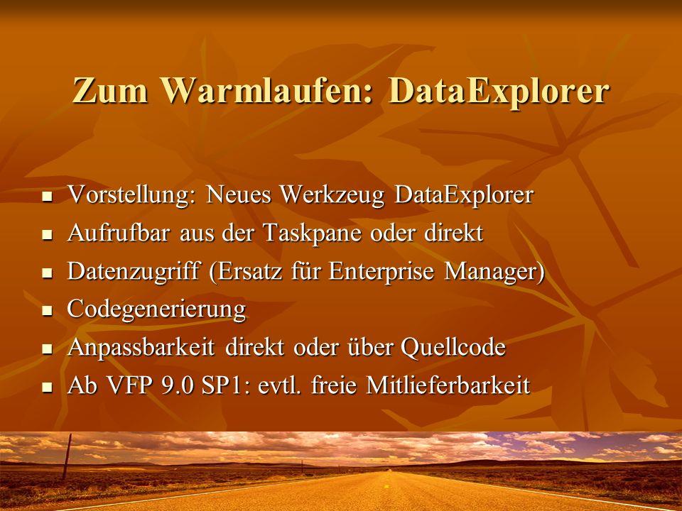 Zum Warmlaufen: DataExplorer