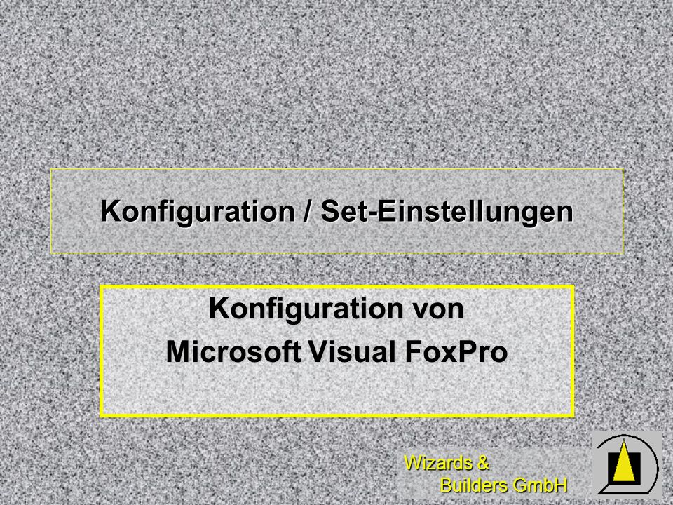 Konfiguration / Set-Einstellungen