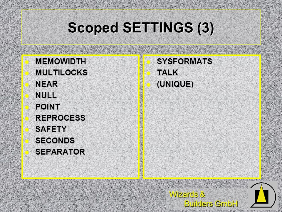 Scoped SETTINGS (3) MEMOWIDTH MULTILOCKS NEAR NULL POINT REPROCESS