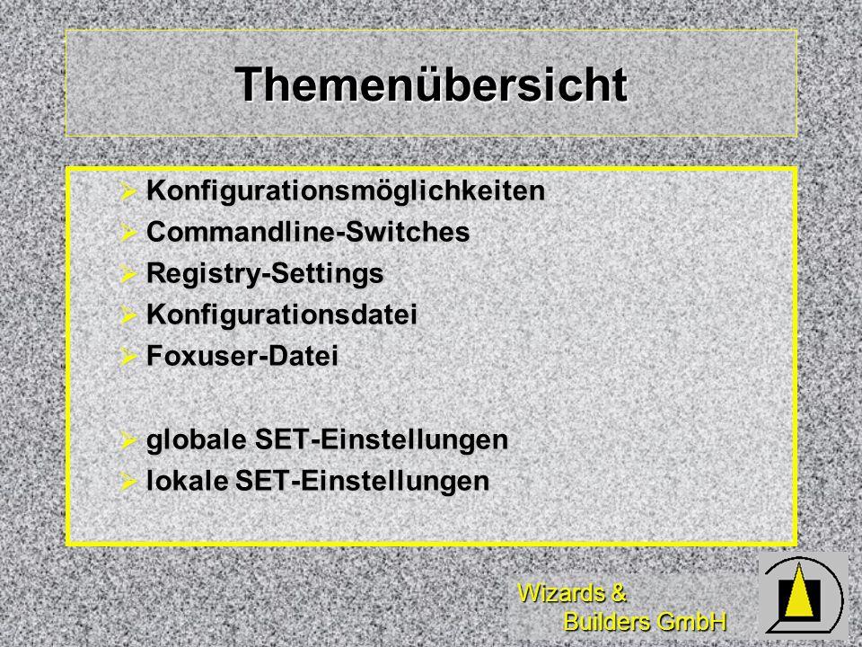 Themenübersicht Konfigurationsmöglichkeiten Commandline-Switches