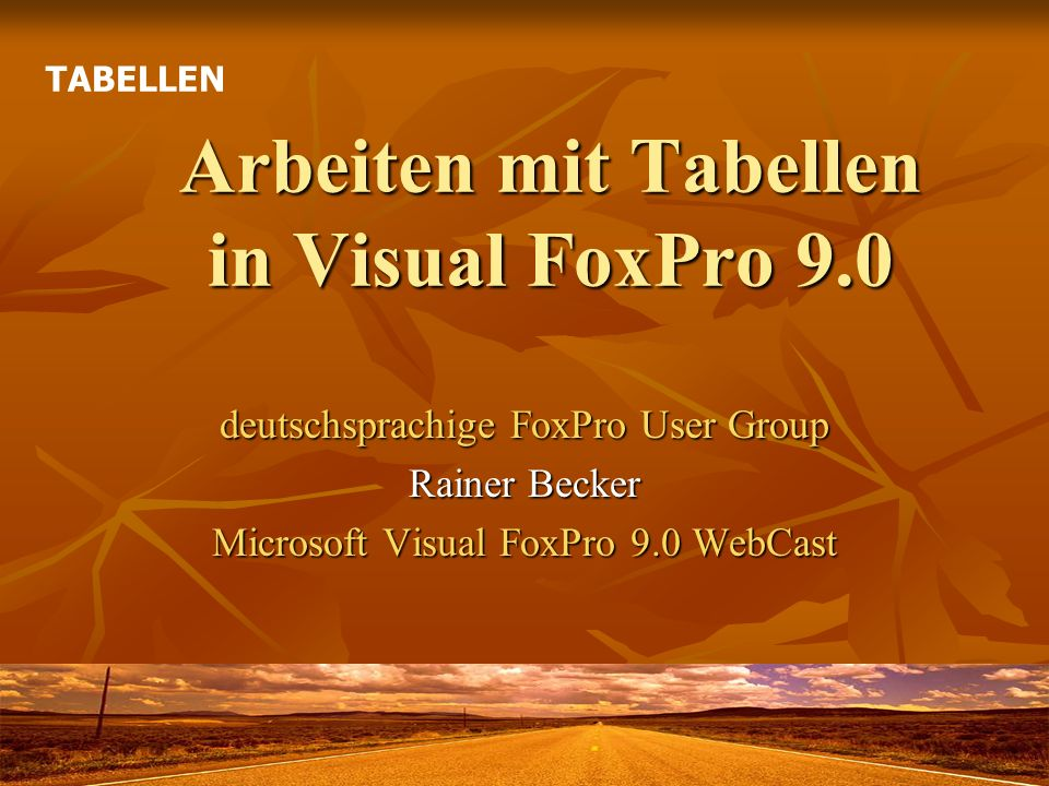 Arbeiten mit Tabellen in Visual FoxPro 9.0