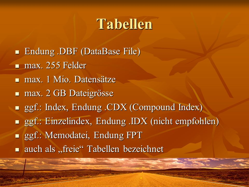 Tabellen Endung .DBF (DataBase File) max. 255 Felder
