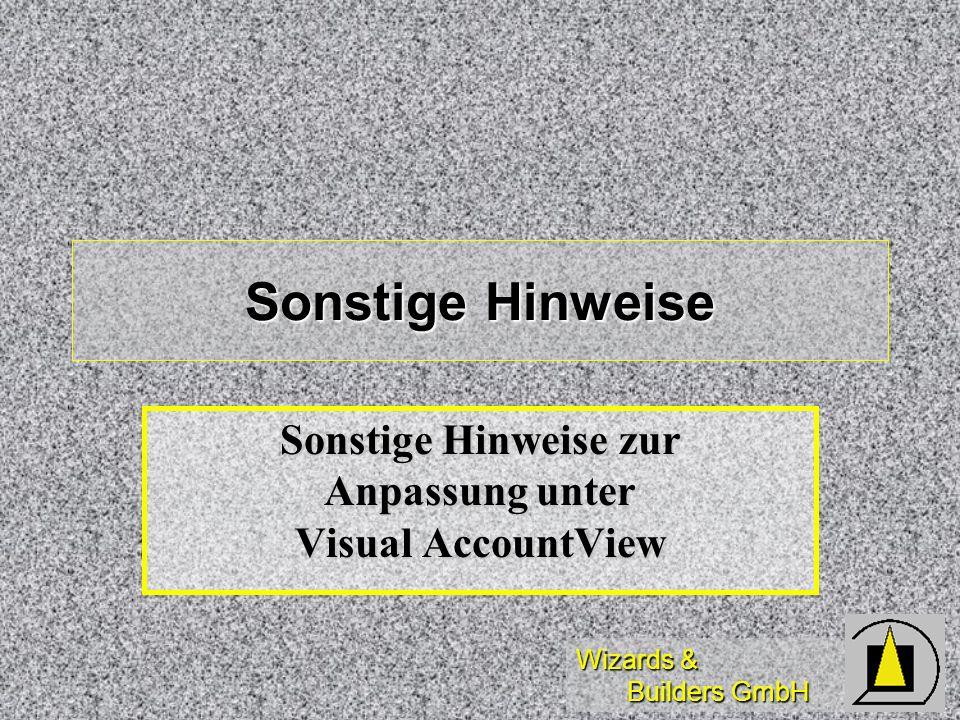 Sonstige Hinweise zur Anpassung unter Visual AccountView