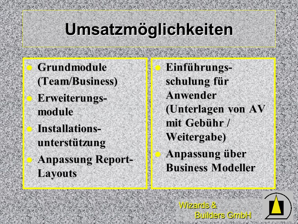 Umsatzmöglichkeiten Grundmodule (Team/Business) Erweiterungs-module
