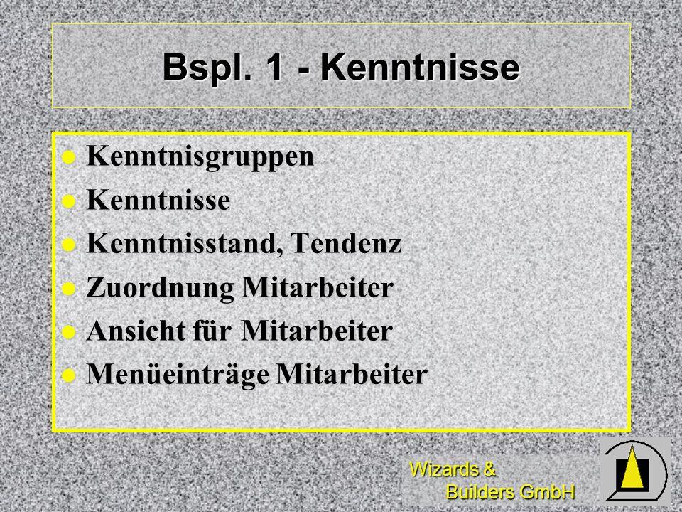Bspl. 1 - Kenntnisse Kenntnisgruppen Kenntnisse Kenntnisstand, Tendenz