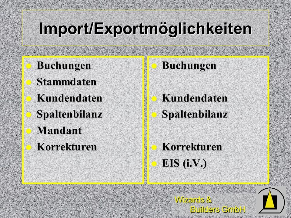 Import/Exportmöglichkeiten