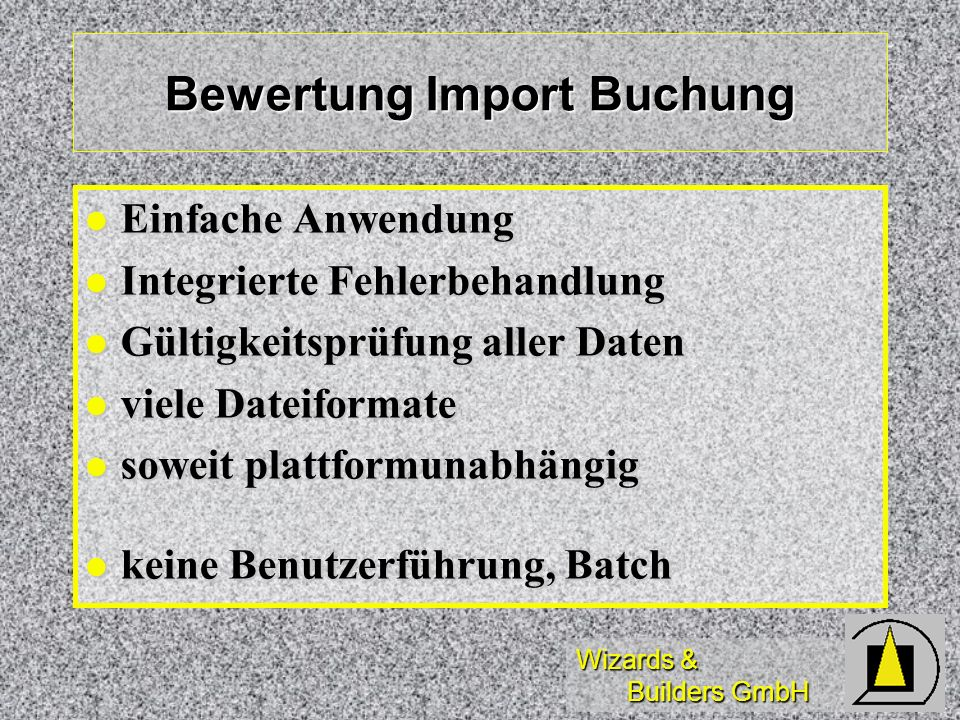 Bewertung Import Buchung