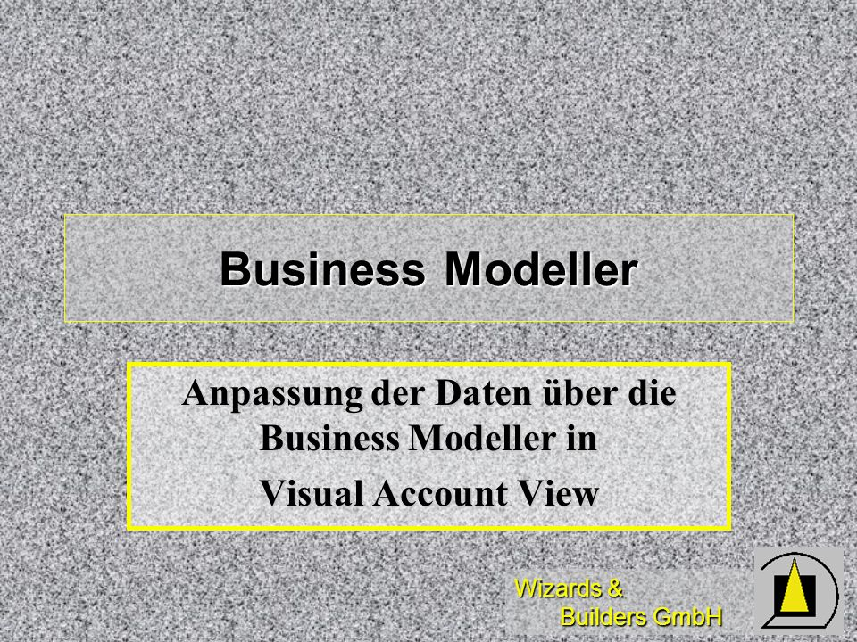 Anpassung der Daten über die Business Modeller in Visual Account View