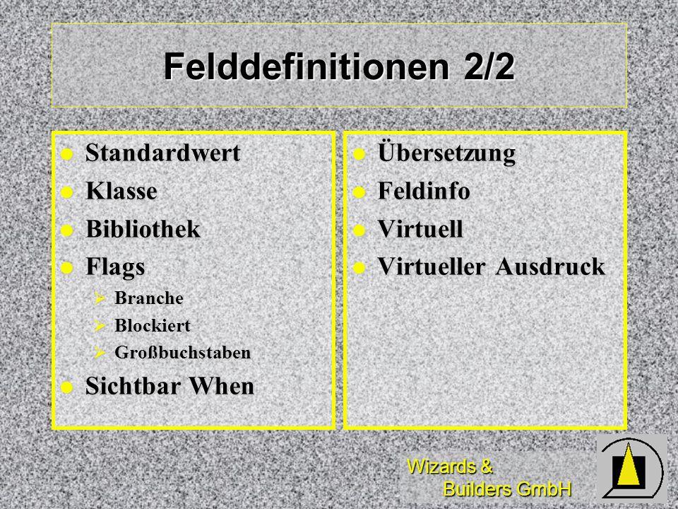 Felddefinitionen 2/2 Standardwert Klasse Bibliothek Flags