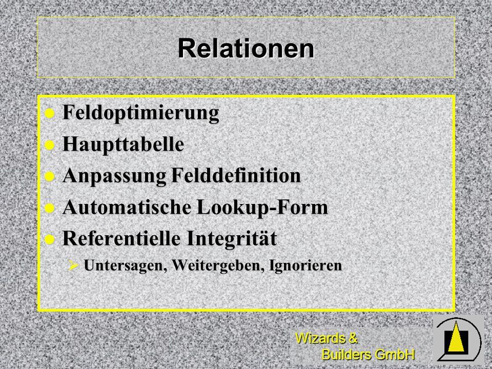 Relationen Feldoptimierung Haupttabelle Anpassung Felddefinition