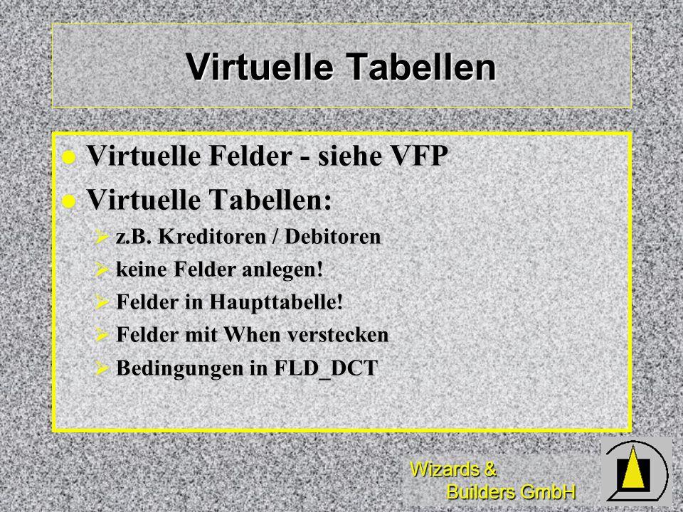 Virtuelle Tabellen Virtuelle Felder - siehe VFP Virtuelle Tabellen: