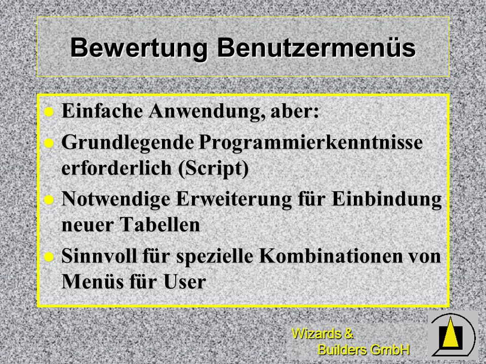 Bewertung Benutzermenüs