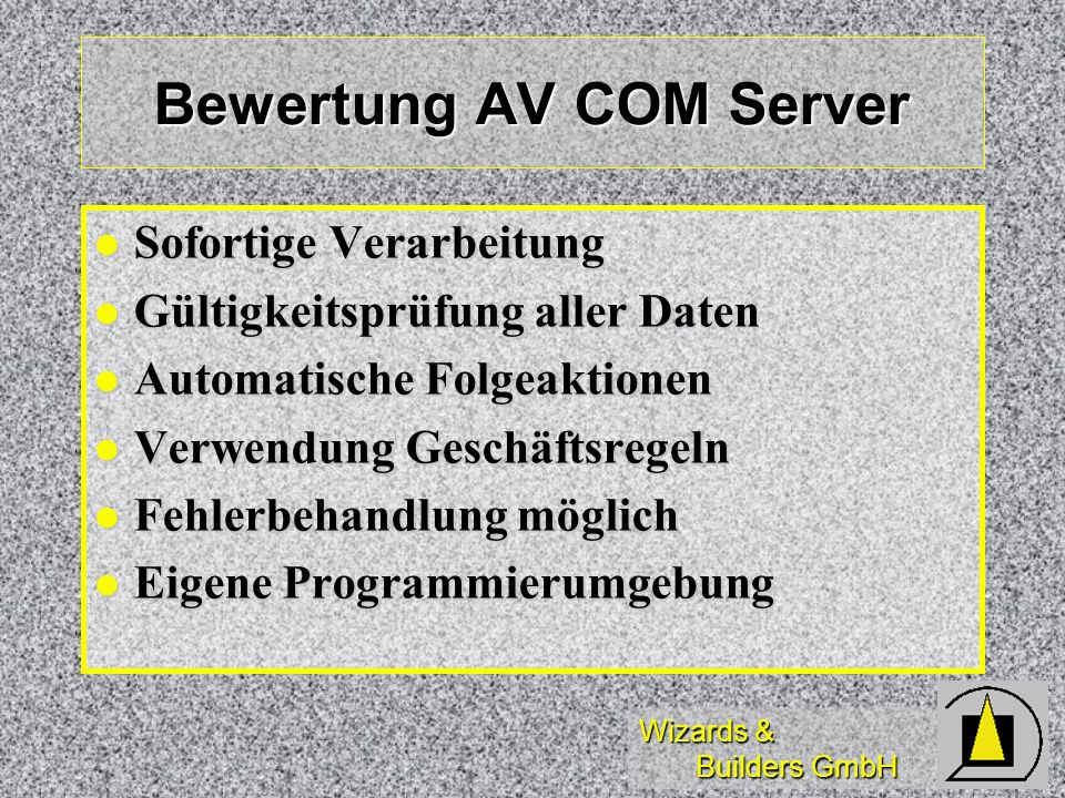 Bewertung AV COM Server