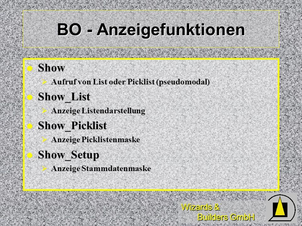 BO - Anzeigefunktionen