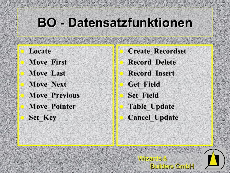 BO - Datensatzfunktionen