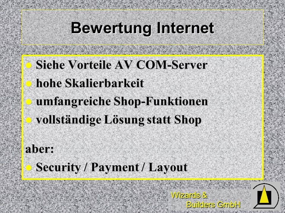 Bewertung Internet Siehe Vorteile AV COM-Server hohe Skalierbarkeit