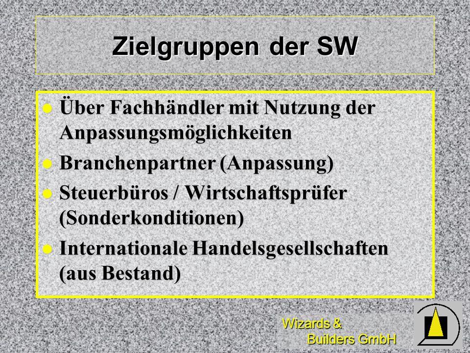 Zielgruppen der SW Über Fachhändler mit Nutzung der Anpassungsmöglichkeiten. Branchenpartner (Anpassung)