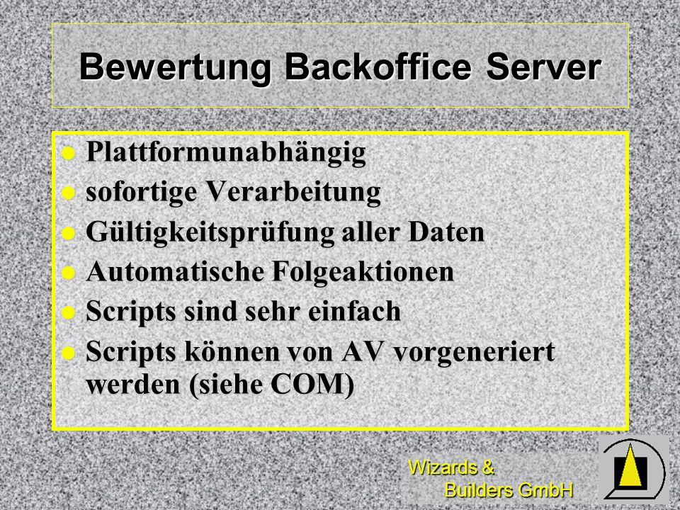 Bewertung Backoffice Server