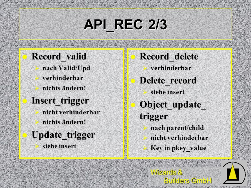 API_REC 2/3 Record_valid Insert_trigger Update_trigger Record_delete