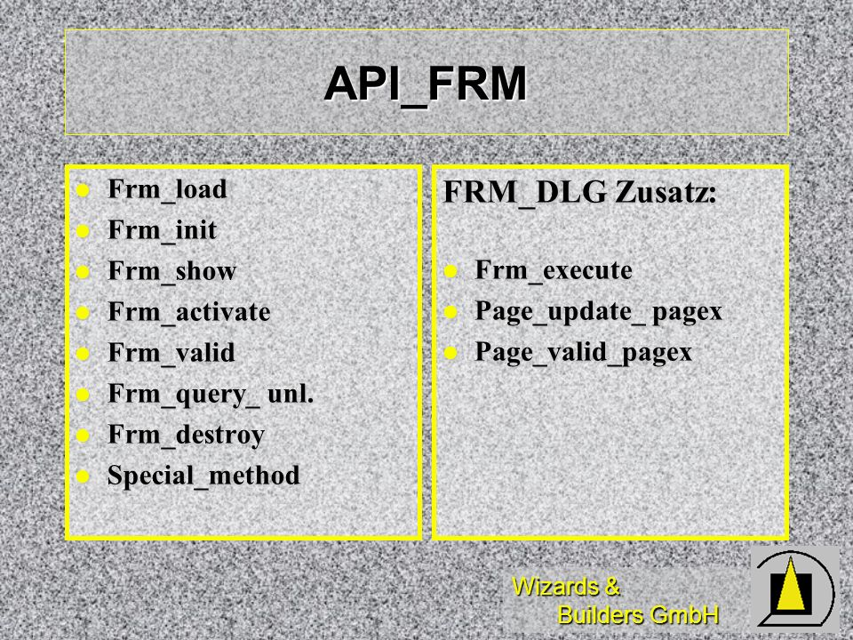API_FRM FRM_DLG Zusatz: Frm_load Frm_init Frm_show Frm_execute