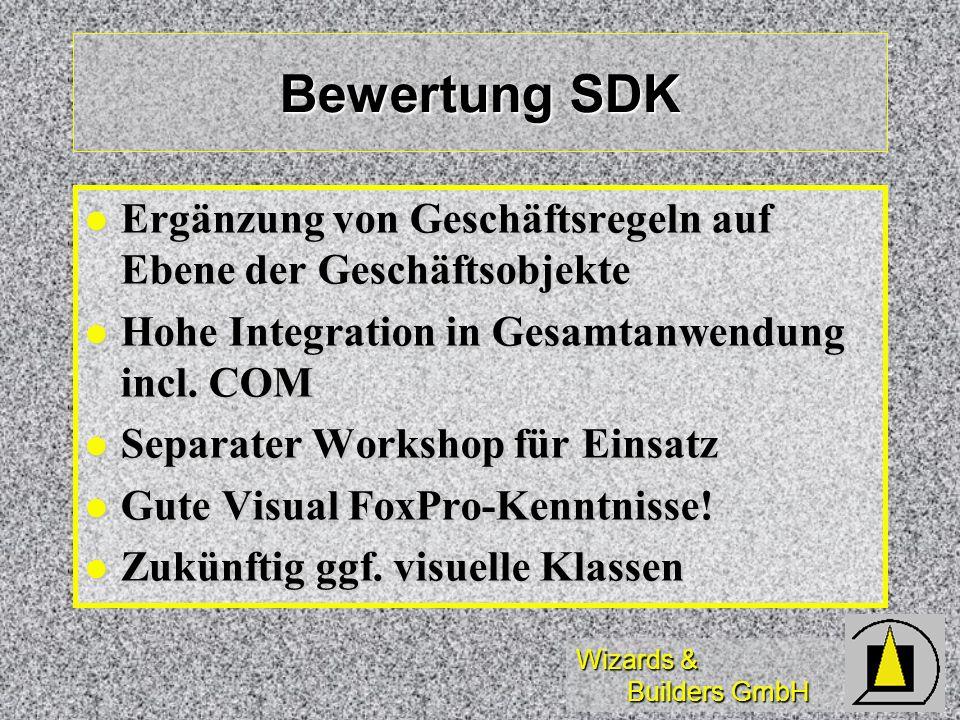 Bewertung SDK Ergänzung von Geschäftsregeln auf Ebene der Geschäftsobjekte. Hohe Integration in Gesamtanwendung incl. COM.