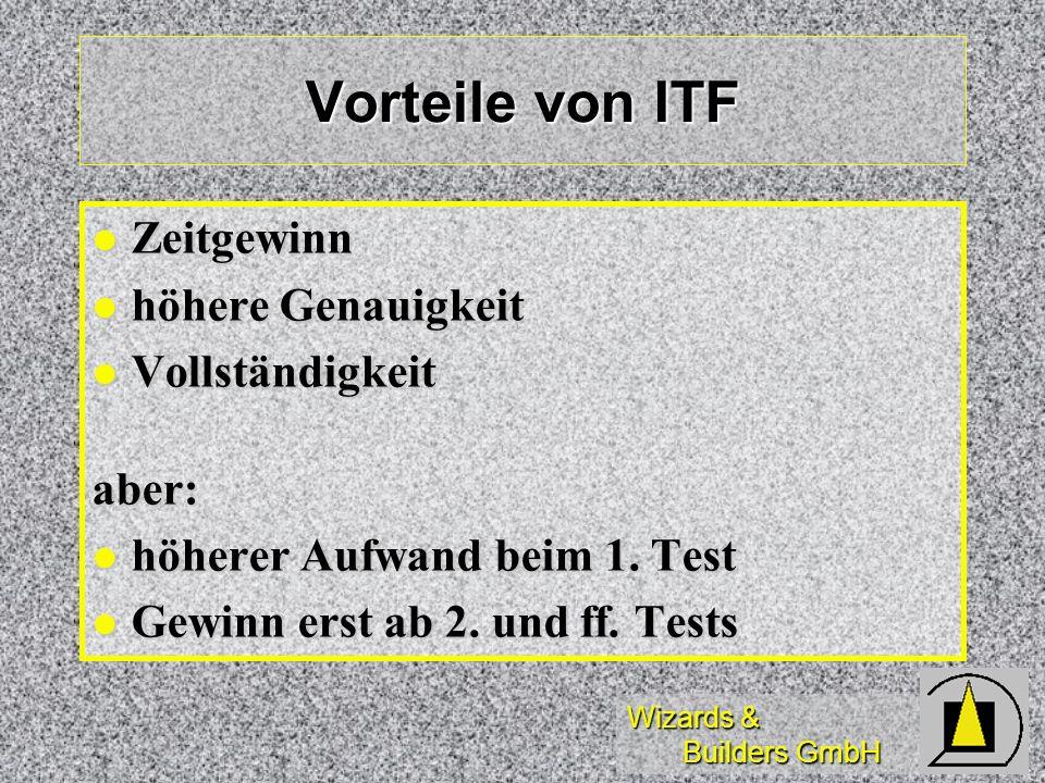 Vorteile von ITF Zeitgewinn höhere Genauigkeit Vollständigkeit aber: