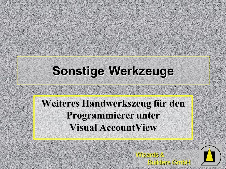 Weiteres Handwerkszeug für den Programmierer unter Visual AccountView