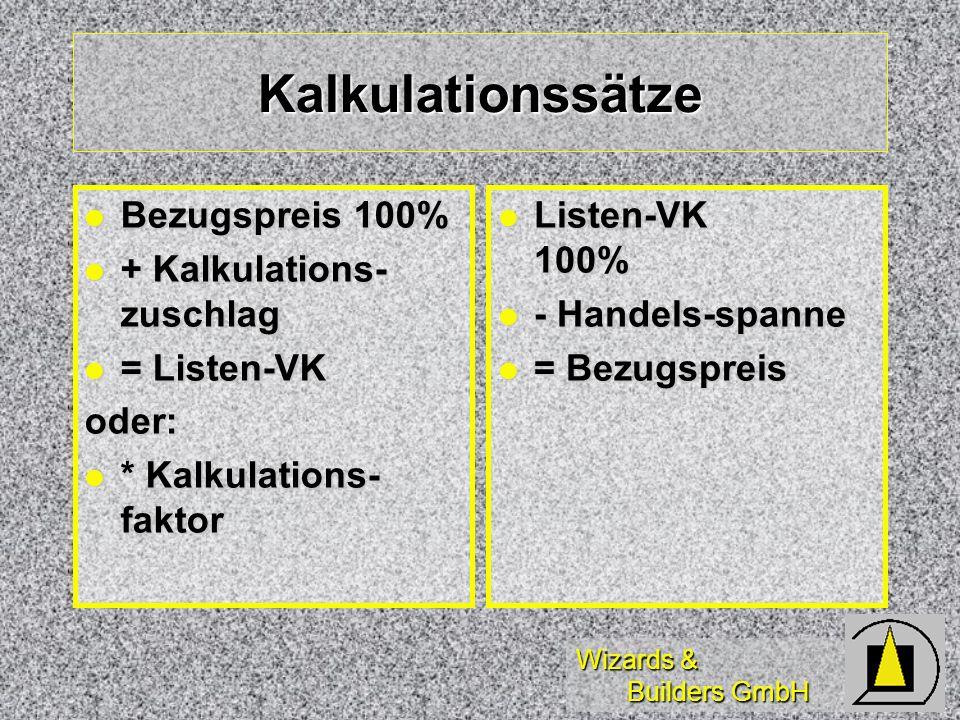 Kalkulationssätze Bezugspreis 100% + Kalkulations-zuschlag = Listen-VK