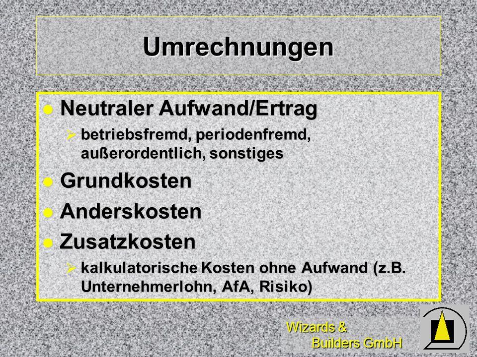 Umrechnungen Neutraler Aufwand/Ertrag Grundkosten Anderskosten