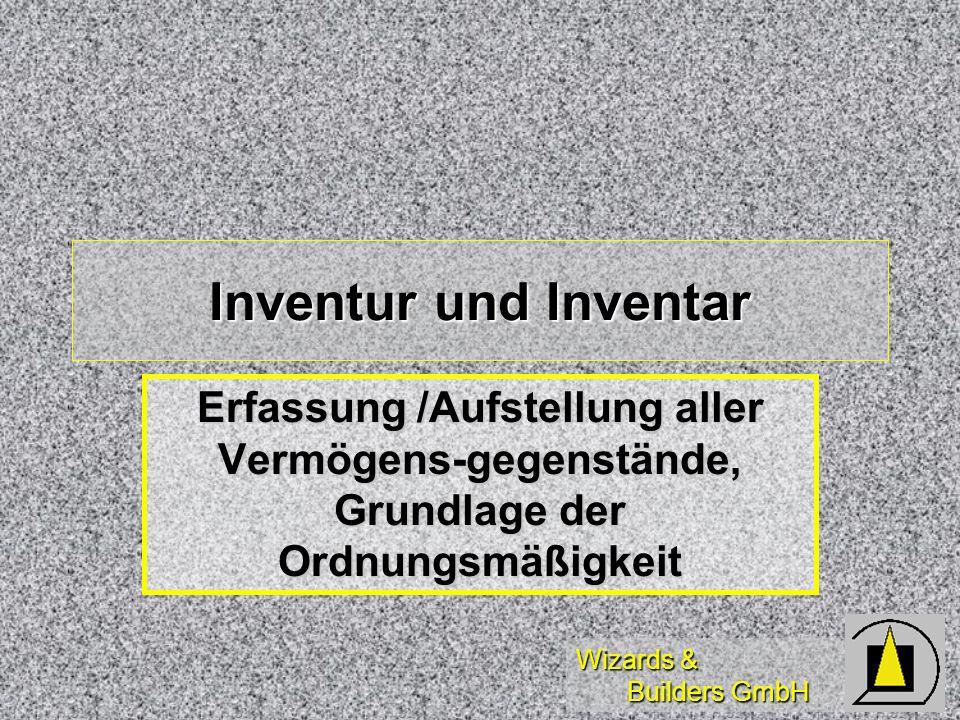 Inventur und Inventar Erfassung /Aufstellung aller Vermögens-gegenstände, Grundlage der Ordnungsmäßigkeit.