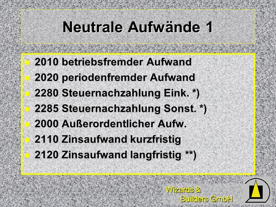 Neutrale Aufwände 1 2010 betriebsfremder Aufwand
