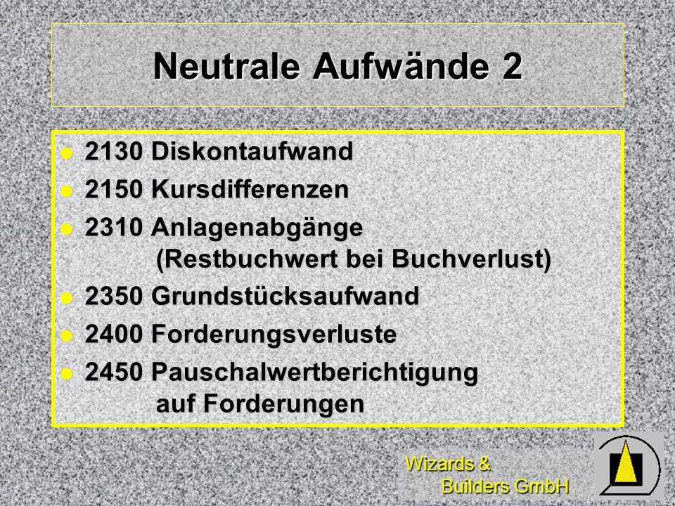 Neutrale Aufwände 2 2130 Diskontaufwand 2150 Kursdifferenzen