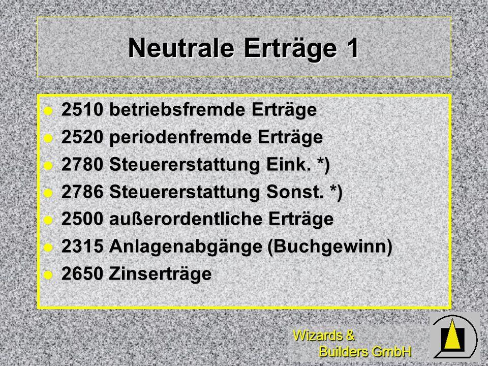 Neutrale Erträge 1 2510 betriebsfremde Erträge