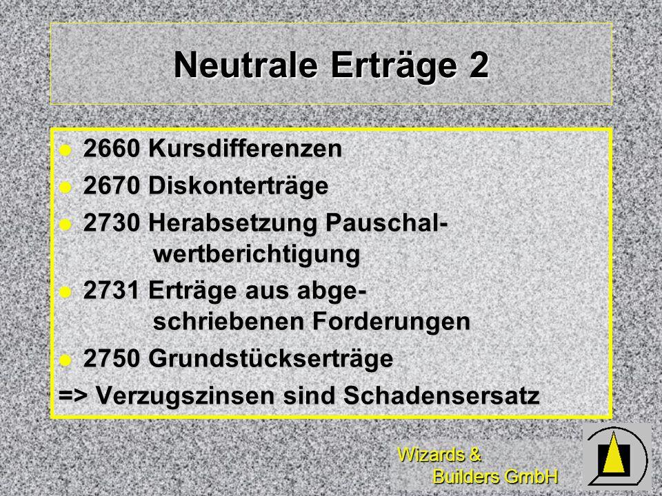 Neutrale Erträge 2 2660 Kursdifferenzen 2670 Diskonterträge