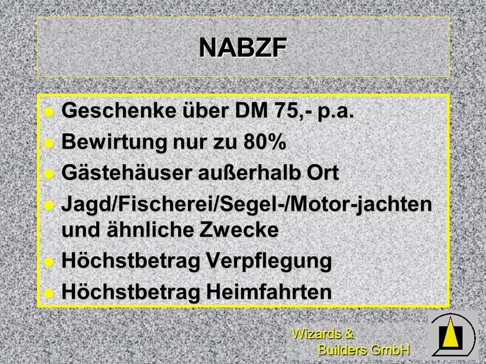 NABZF Geschenke über DM 75,- p.a. Bewirtung nur zu 80%