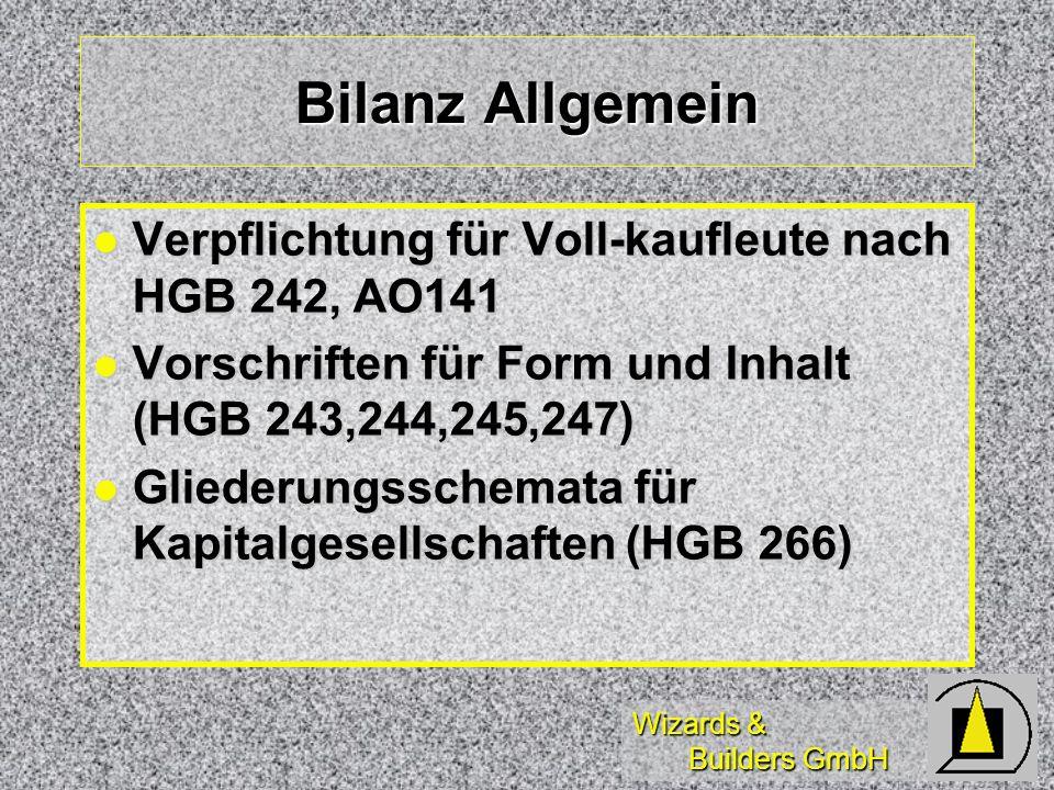 Bilanz Allgemein Verpflichtung für Voll-kaufleute nach HGB 242, AO141