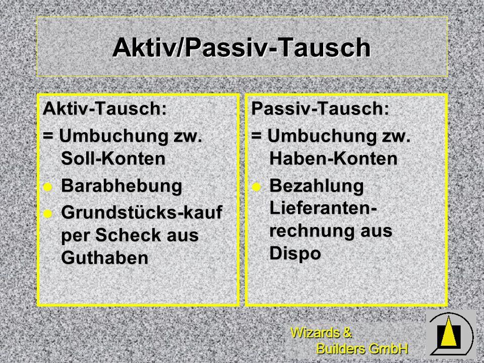 Aktiv/Passiv-Tausch Aktiv-Tausch: = Umbuchung zw. Soll-Konten
