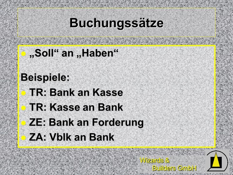 """Buchungssätze """"Soll an """"Haben Beispiele: TR: Bank an Kasse"""