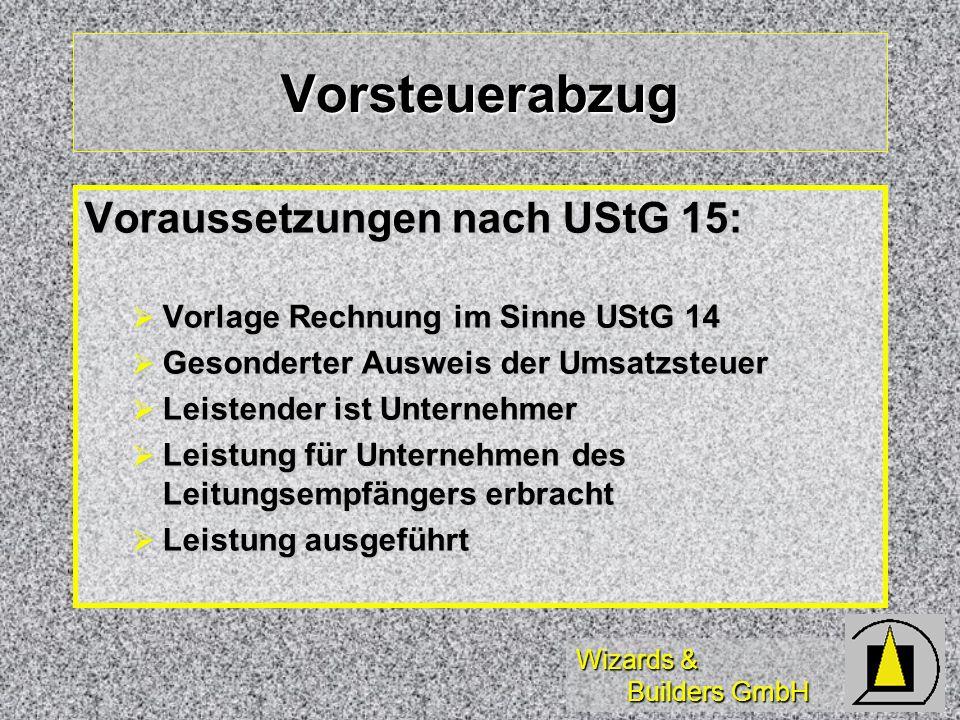Vorsteuerabzug Voraussetzungen nach UStG 15: