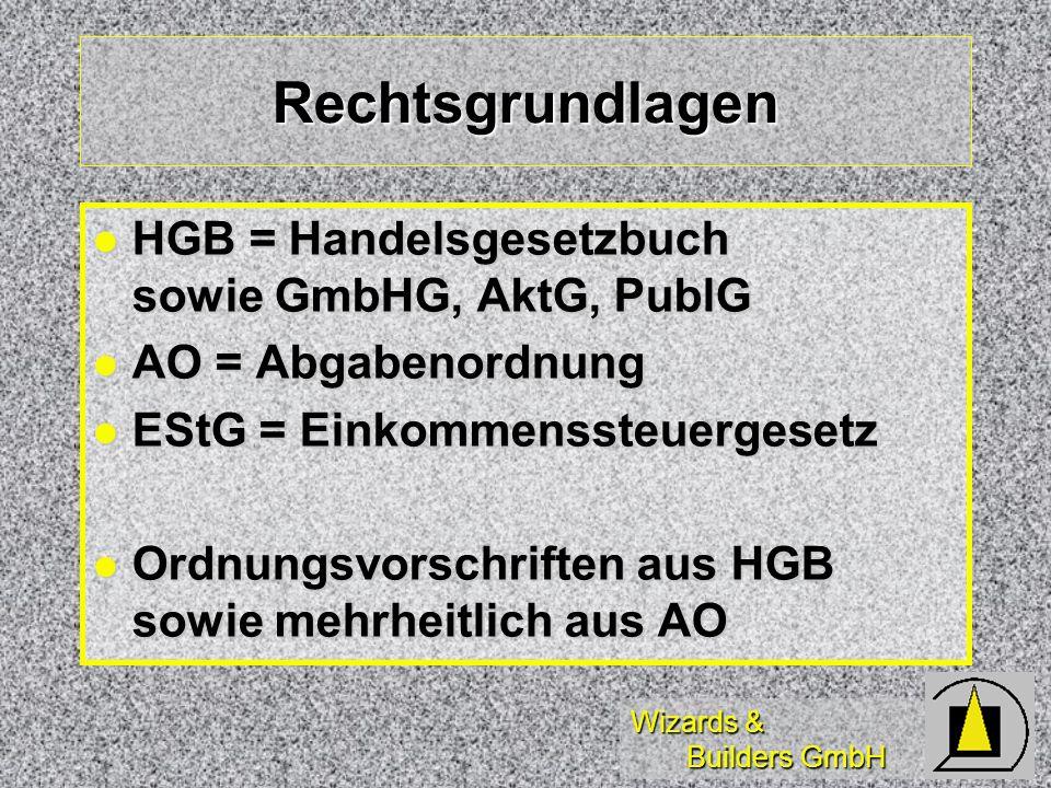 Rechtsgrundlagen HGB = Handelsgesetzbuch sowie GmbHG, AktG, PublG