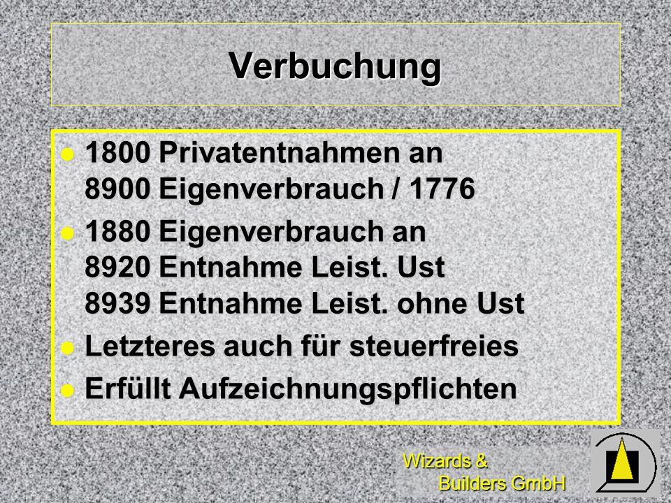Verbuchung 1800 Privatentnahmen an 8900 Eigenverbrauch / 1776