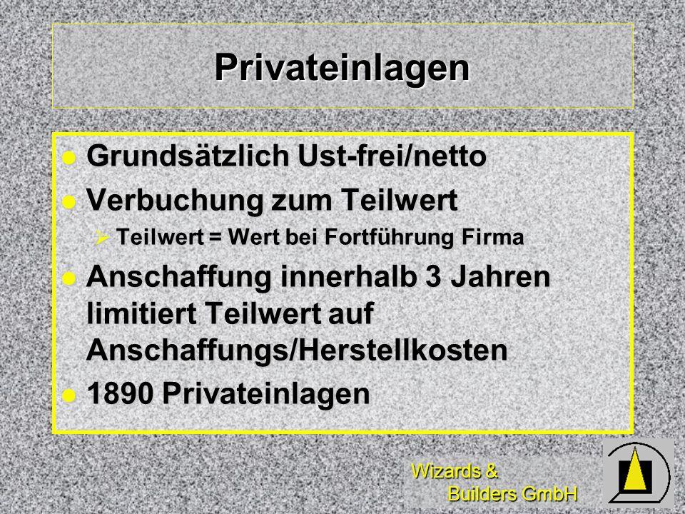 Privateinlagen Grundsätzlich Ust-frei/netto Verbuchung zum Teilwert