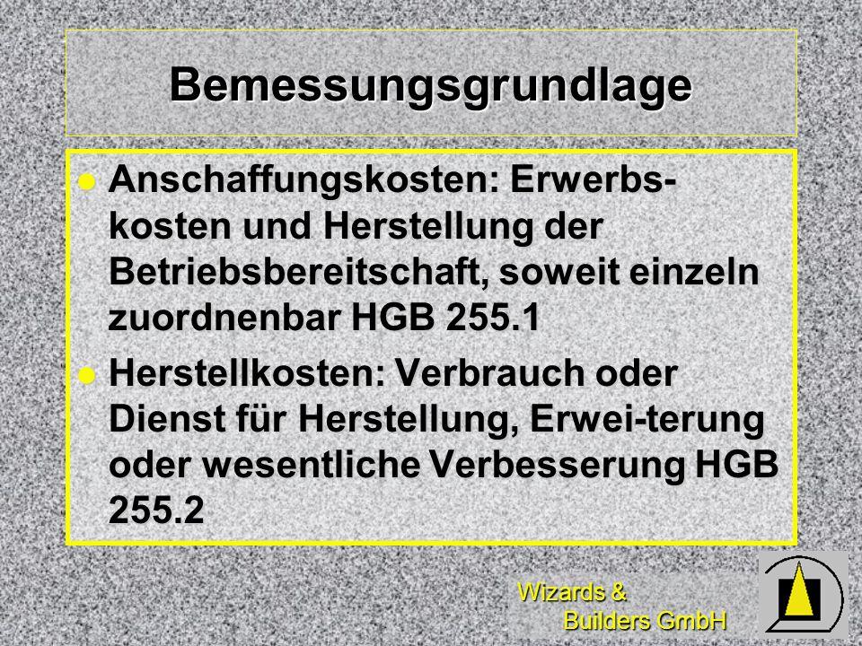 Bemessungsgrundlage Anschaffungskosten: Erwerbs-kosten und Herstellung der Betriebsbereitschaft, soweit einzeln zuordnenbar HGB 255.1.