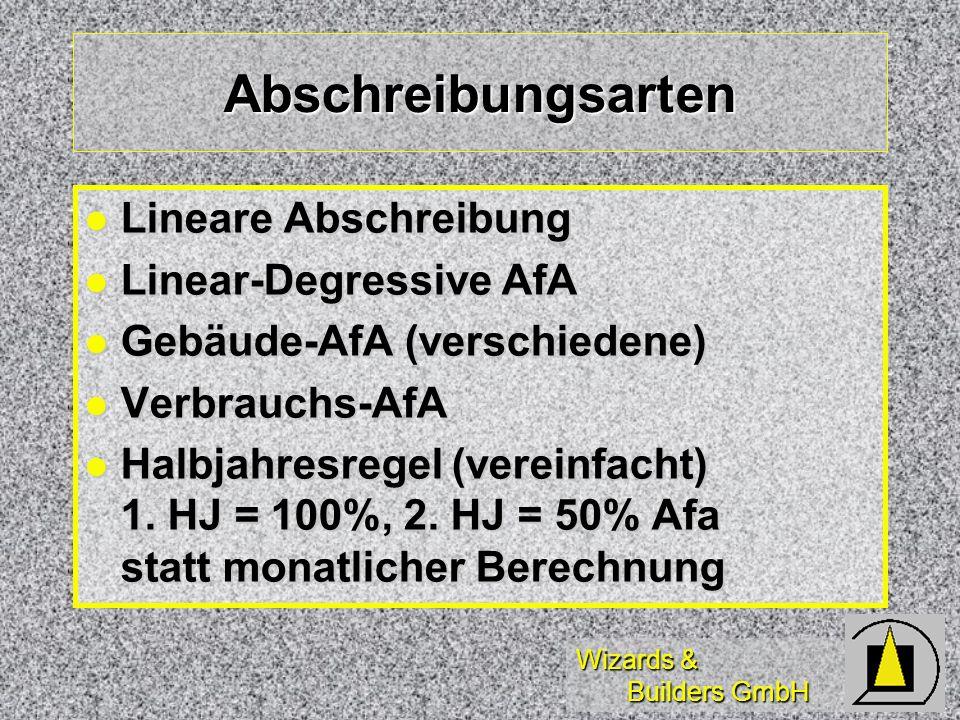 Abschreibungsarten Lineare Abschreibung Linear-Degressive AfA