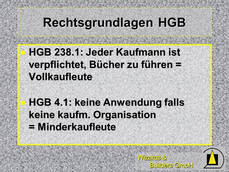 Rechtsgrundlagen HGB HGB 238.1: Jeder Kaufmann ist verpflichtet, Bücher zu führen = Vollkaufleute.