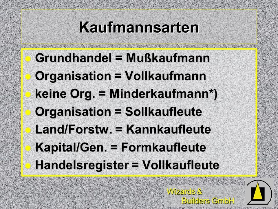 Kaufmannsarten Grundhandel = Mußkaufmann Organisation = Vollkaufmann