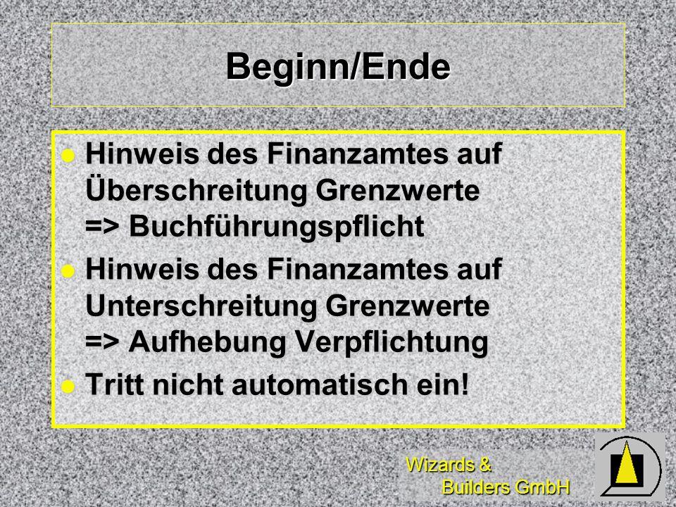 Beginn/Ende Hinweis des Finanzamtes auf Überschreitung Grenzwerte => Buchführungspflicht.