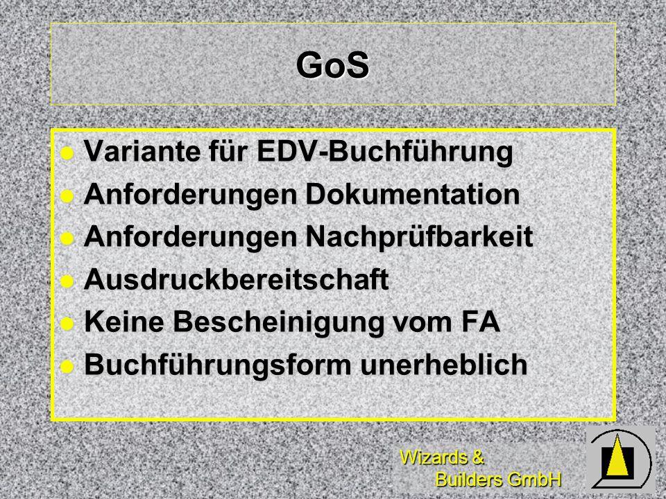 GoS Variante für EDV-Buchführung Anforderungen Dokumentation