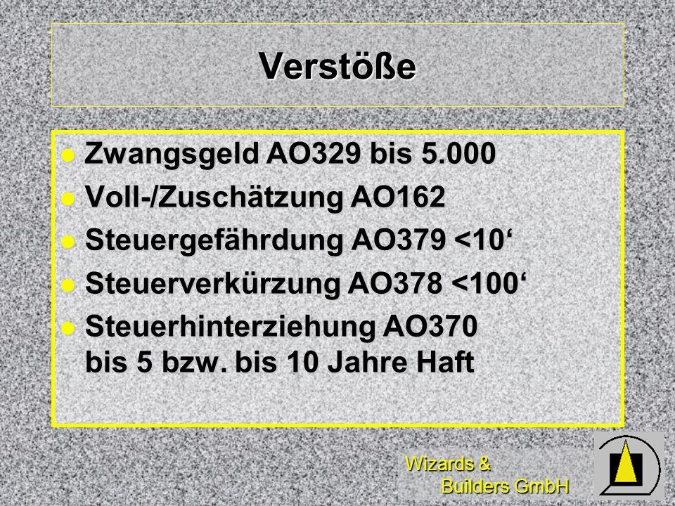 Verstöße Zwangsgeld AO329 bis 5.000 Voll-/Zuschätzung AO162